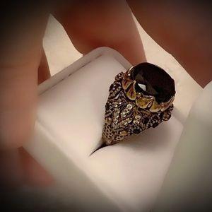 Size 7.5 Sapphire FINE GEM ART Ring Solid 925/Gold